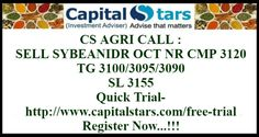CS AGRI CALL : SELL SYBEANIDR OCT NR CMP 3120  TG 3100/3095/3090  SL 3155  Quick Trial- http://www.capitalstars.com/free-trial Register Now...!!!