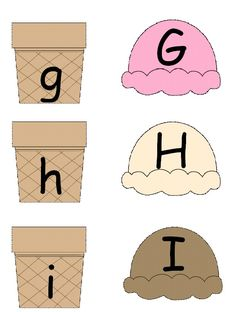 DIY this- Match uppercase and lowercase ABC's ice cream style! Kiddos love anything ice cream! Preschool Letters, Learning Letters, Alphabet Activities, Preschool Kindergarten, Preschool Learning, Kindergarten Activities, Preschool Activities, Teaching Kids, Beginning Of School