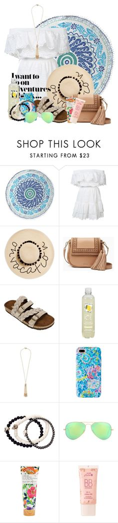"""Summer 2k17"" by bri-lynnn ❤ liked on Polyvore featuring John Robshaw, LoveShackFancy, August Hat, Kate Spade, White Mountain, Miriam Haskell, Lilly Pulitzer, Duchess of Malfi, Ray-Ban and Library of Flowers"