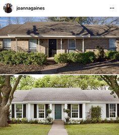 20 Ideas exterior house colors with brick ranch style white trim Café Exterior, Exterior Remodel, Exterior House Colors, Exterior Paint, Exterior Design, White Wash Brick Exterior, Exterior Shutters, Stained Brick Exterior, Black Trim Exterior House