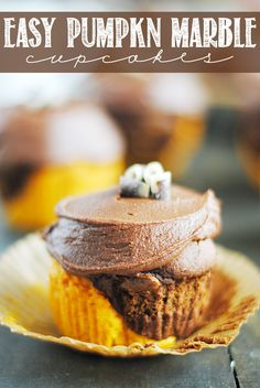 Pumpkin Marble Cupcakes are simple to make (only three ingredients for the cake portion) and look so impressive. And the chocolate frosting is killer!!