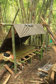 Bamboo lean to with tarp