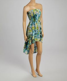 Love this Green Floral Hi-Low Dress on #zulily! #zulilyfinds