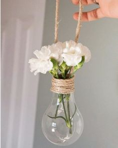 ▷ 1001 + ideas on how to make crafts to decorate your home - Hanging decoration, bulb vase with rope, recycled crafts - Bulb Vase, Diy Crafts To Do, Rope Crafts, Deco Floral, Boho Diy, Recycled Crafts, Diy Room Decor, Decoration, Ideas Manualidades