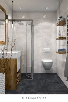 "Marazzi tile concrete look black porcelain stoneware ""Patch Black"" from EUR / m² Grey Bathrooms Designs, Bathroom Tile Designs, Bathroom Design Small, Bathroom Ideas, Shower Doors, Shower Tub, Showers Without Doors, Vertical Window Blinds, Beton Design"