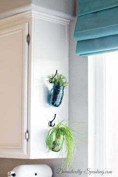 Hanging Fresh Herbs in Mason Jars, I'm going to do this for my mason jar of baking soda that I keep by the sink for cleaning but is always in my way. herb garden diy wall mason jars Hanging Fresh Herbs in Vintage Blue and Green Mason Jars Diy Kitchen, Kitchen Decor, Kitchen Design, Kitchen Plants, Kitchen Sink, Kitchen Ideas, Rental Kitchen, Kitchen Small, Kitchen Colors