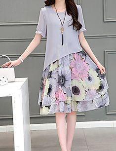 Kadın Büyük Beden Sade Salaş Elbise Çiçekli,Kısa Kollu Yuvarlak Yaka Diz-boyu Gri Pamuklu Yaz Düşük Bel Mikro-Esnek
