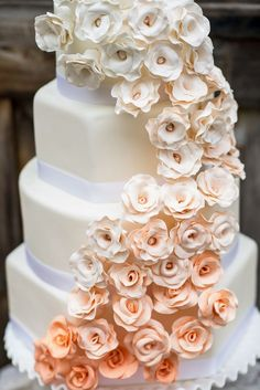 beautiful ombre peach and white wedding cake