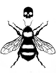 Black Skull And Bee Tattoo Design Black Bumble Bee, Black Bee, Line Tattoos, Black Tattoos, Future Tattoos, Tattoos For Guys, Crane, Bee Silhouette, Butterfly Tattoo On Shoulder