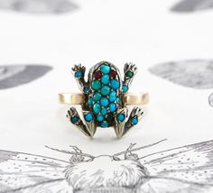 Victorian Turquoise Frog Ring Antique Pave by TheEdenCollective