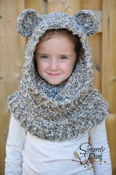Un'bear'ably Cute Hooded Cowl (Scoodie) Crochet Pattern by Sincerely Pam