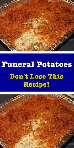 Funeral Potatoes Recipe – Hello My Recipe - Recipes Potato Sides, Potato Side Dishes, Vegetable Dishes, Vegetable Recipes, Side Dish Recipes, Great Recipes, Favorite Recipes, Easy Casserole Recipes, Casserole Dishes