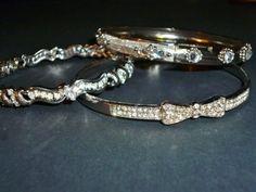 Bangle Bracelet Jewelry Rhinestone & Silver Tone LOT #Unbranded #Bangle