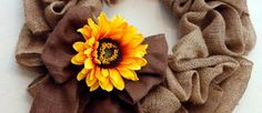 I love this sunflower burlap wreath.  Where do you buy burlap like this?