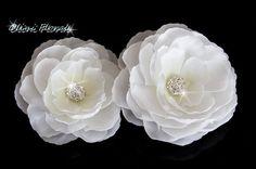 White Bridal Silk Flower with Rhinestone hair clip Bridal Hair Flowers, Silk Flowers, White Bridal, Bridal Sets, Wedding Hair Accessories, Bridal Jewelry, Hair Clips, Wedding Hairstyles, Hair Accessory