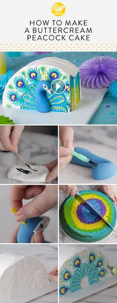 Learn how to make a pretty peacock cake that's decorated with lovely buttercream feathers and has a colorful fun effect when you cut into it. A beautiful treat for birthdays and parties, this Pretty in Peacock Cake is sure to attract Wilton Cakes, Cupcake Cakes, Wilton Fondant, Cake Fondant, Fun Cakes, Cupcake Decoration, Peacock Cake, Fondant Tutorial, Buttercream Cake
