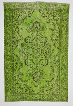 Chartreuse Floral Vintage Turkish Rug by bazaarbayar on Etsy, $1485.00