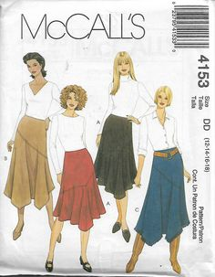 McCall's 4153 Size 12-14-16-18 Waist 26 1/2 - 32 Misses' Flared Bias Side Zipper Skirts Sewing Pattern 2003 Uncut by LadybugsandScorpions on Etsy