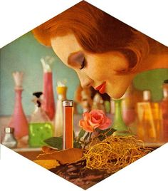 Vintage Perfume Ad-i have mini vintage 1950-60s samples glass tubes for only the door to door sales men.