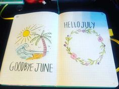 Bullet Journal June, Bullet Journal Notebook, Bullet Journal Themes, Bullet Journal Layout, July Images, July Calendar, Hello July, Bullet Journel, Journal Inspiration
