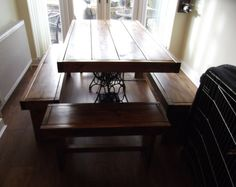Rustic dining table with vintage singer treadle base and 4 benches. 850 x Handmade from reclaimed timber finished in dark oak briwax Reclaimed Timber, Rustic Table, Benches, Dining Table, Singer, Base, Trending Outfits, Pallet, Furniture