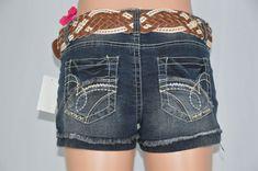 WallFlower Womens 3 Reg. NEW Dark Wash Jean Shorts & Belt Rolled Cuff Distressed #WallFlower #CasualShorts