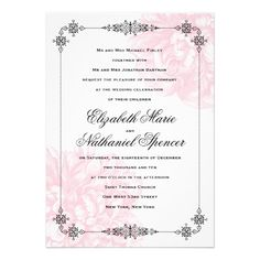 Ornate Peony Wedding Invitation.   A smooth finished matte paper made with 100% post-consumer paper content. 100lb cover-weight. A cost effective and eco-friendly choice for any invitation or announcement.  $2.90