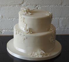 2 tier square wedding cakes | Rose and blossom 2 tier ivory wedding cake | Flickr - Photo Sharing!