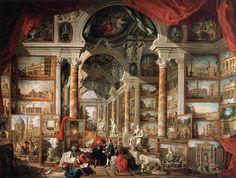 GIOVANNI PAOLO PANNINI. Galleria immaginaria di vedute di Roma moderna. 1759. Museum of Fine Arts. Boston.