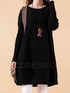 ericdress manga del batwing del suéter del remiendo suéter largo prendas de punto