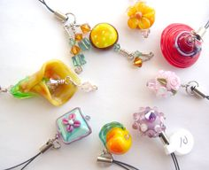 Zipper Pull Cell Phone Charms Glass Bead by HollysFollyGlass, $10.00