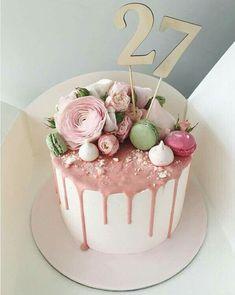 (notitle) - Kuchendeko - #Kuchendeko #notitle Romantic Desserts, Cute Desserts, Sweets Recipes, Macaron Cake, Cupcake Cakes, Pretty Cakes, Beautiful Cakes, 18th Cake, 40th Birthday Cakes
