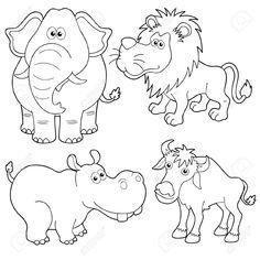 wild outline animal sketches animals jungle drawings easy cartoon animati contorno cartoni animali illustrazione adesivo pixers