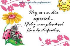 Postales de cumpleaños, Mariquita tomando el sol en flor