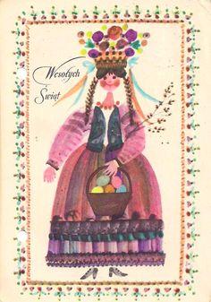 Danuta Imielska-Gebethner (b.1931) — Wesołych Swiąt   (630x900) Polish Easter, Polish Folk Art, Russian Folk Art, Art Costume, Costumes, Vernal Equinox, Great Paintings, Flower Template, Vintage Easter
