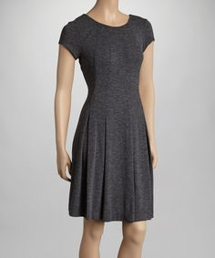 Another great find on #zulily! Charcoal Box-Pleat Boatneck Dress by Gabby Skye #zulilyfinds