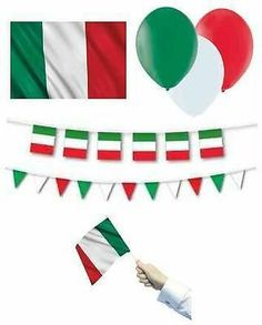 ITALY (Italian) FLAGS BANNERS BALLOONS(Partyware/Decorations){fixed £1 UK p&p}