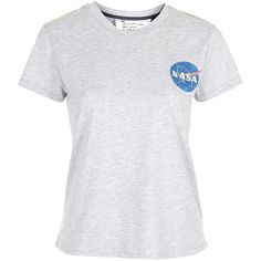 TOPSHOP PETITE NASA Print Tee ($40) ❤ liked on Polyvore featuring tops, t-shirts, grey marl, petite, gray tee, grey tee, print tees, grey top and gray t shirt