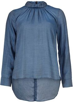 Bluse blå 22654 Turtleneck Shirt - 925 water mirror