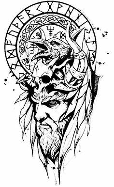 Viking Rune Tattoo, Viking Tattoo Sleeve, Norse Tattoo, Viking Tattoo Design, Arm Sleeve Tattoos, Arm Band Tattoo, Tattoo Sketches, Body Art Tattoos, Dark Art Tattoo