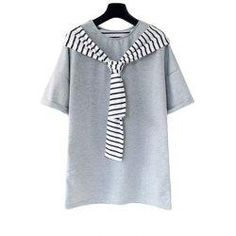 #trendsgal.com - #Trendsgal Round Neck Short Sleeve Stripe Spliced T Shirt - AdoreWe.com