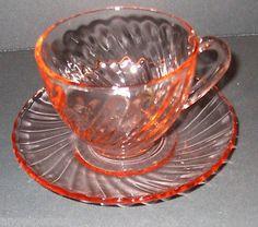 Vintage Arcoroc France Pink Swirl Rosaline Cup & Saucer  Depression Glass