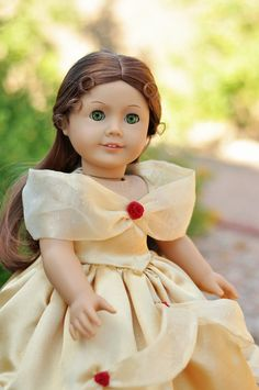 Princess Belle Gown and Shoes for an American Girl or other 18 Inch Doll.  via Etsy.