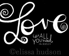 Love Is All You Need Wall Art Print por elissahudson en Etsy, $22.00