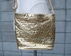 Studded Leather Purse Vintage 1980s Gold by purevintageclothing