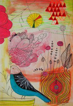 Hello Friend- mixed media illustration Christina Minasian
