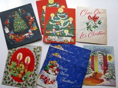 Vintage Christmas Cards Lot of 19 Used Retro Christmas by Sfuso