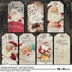 Digital Christmas Tags, Printable Christmas Tags, Vintage Christmas Tags, Christmas Gift Tags, Old fashioned Holiday Tags, Santa Gift Tags
