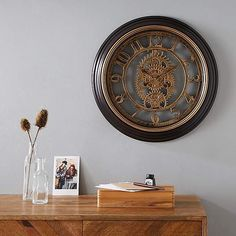 Crafted with arabic numerical figures this circular clock uses a gorgeous gear mechanism design in a brown colourway for a classic style which can be hung on the walls of your home making it an ideal decoration for your home. Wall Clock Brass, Room Wall Colors, Kitchen Wall Clocks, Clock Display, Mirror Wall Art, Large Clock, Soft Furnishings, Home Accessories, Classic Style