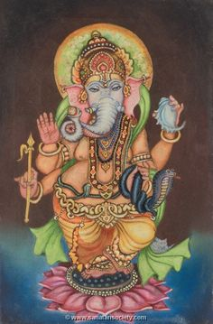 Hindu Gods : Ganesha (Ganesh)- description of this messenger of spirituality - with free wallpaper, online mantra, yantra and many pics Shri Ganesh, Ganesha Art, Lord Ganesha, Ganesh Statue, Lord Krishna, Lord Shiva, Ganesha Painting, Tanjore Painting, Om Gam Ganapataye Namaha